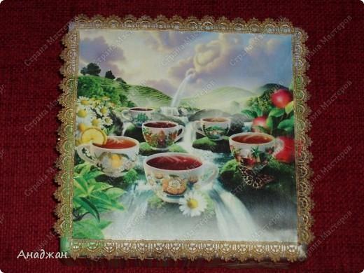 """Чайная коробочка """"Краски лета"""" Основа дерево. Салфетка, распечатка. Кружево. Акриловые краски. Структурная паста. фото 1"""