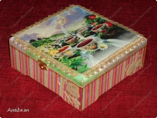 """Чайная коробочка """"Краски лета"""" Основа дерево. Салфетка, распечатка. Кружево. Акриловые краски. Структурная паста. фото 2"""