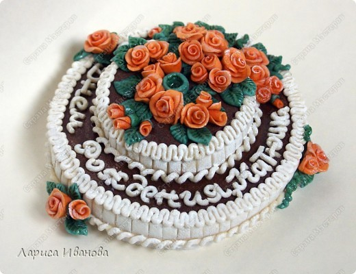 Вот такой незатейлевый тортик попросили слепить ко Дню Рождения. Диаметр - 14 см. фото 2