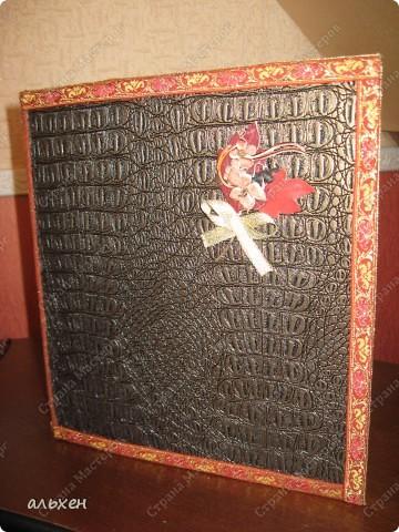 старую огромную папку (валялась лет 5) оклеила зам.кожи фото 1