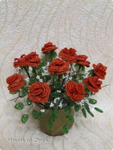 """Продолжаю """"болеть"""" бисером.  Теперь у меня появился горшочек с красными розами.  фото 11"""