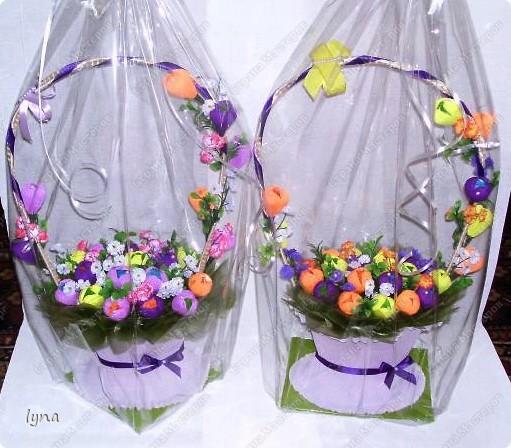 "корзинка с лилиями,в нутри конфеты ""Рококо"" фото 11"