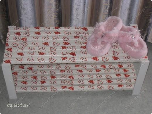 Заразившись идеей переделки мебели, взялась за полочку для обуви! фото 1