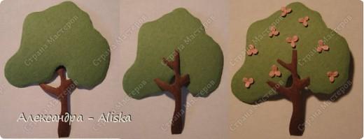 Продолжаем нашу работу. Приступаем к сборке, сначала отдельных элементов: домика, дерева, птицы, а потом и самой картины.  фото 3