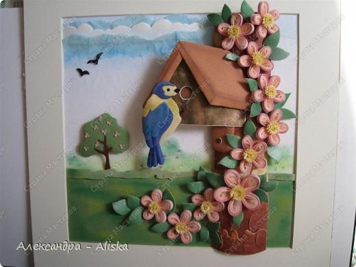 Продолжаем нашу работу. Приступаем к сборке, сначала отдельных элементов: домика, дерева, птицы, а потом и самой картины.  фото 15