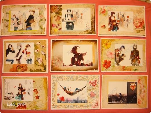 """Открытки, серия """"Девушки"""", 010411. Распечатаны фон, фон, картинки, мелкие детали. Цветная бумага в качестве подложки. Некоторые детали приклеены с эффектом 3D фото 1"""