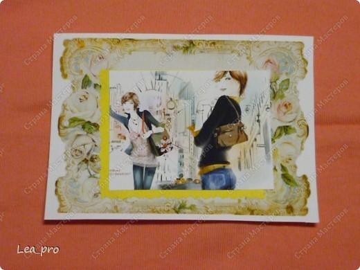 """Открытки, серия """"Девушки"""", 010411. Распечатаны фон, фон, картинки, мелкие детали. Цветная бумага в качестве подложки. Некоторые детали приклеены с эффектом 3D фото 2"""