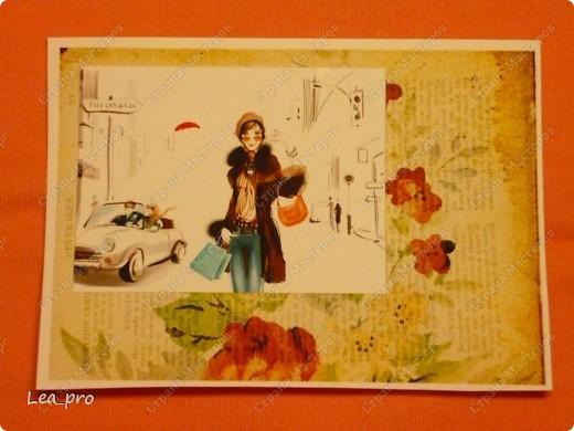 """Открытки, серия """"Девушки"""", 010411. Распечатаны фон, фон, картинки, мелкие детали. Цветная бумага в качестве подложки. Некоторые детали приклеены с эффектом 3D фото 3"""