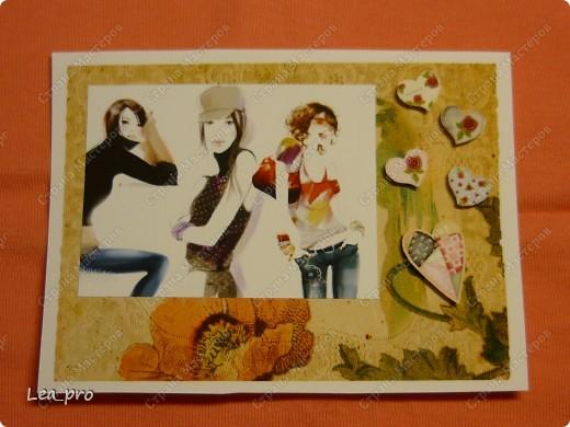 """Открытки, серия """"Девушки"""", 010411. Распечатаны фон, фон, картинки, мелкие детали. Цветная бумага в качестве подложки. Некоторые детали приклеены с эффектом 3D фото 5"""
