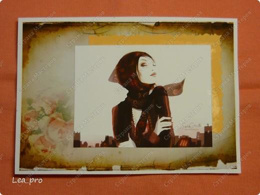 """Открытки, серия """"Девушки"""", 010411. Распечатаны фон, фон, картинки, мелкие детали. Цветная бумага в качестве подложки. Некоторые детали приклеены с эффектом 3D фото 6"""