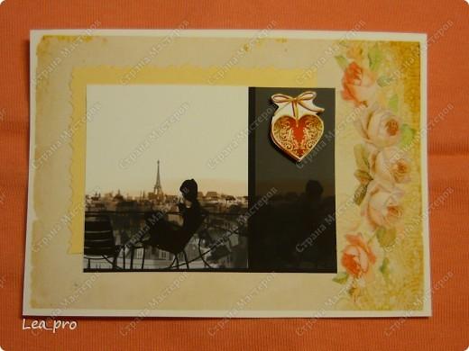 """Открытки, серия """"Девушки"""", 010411. Распечатаны фон, фон, картинки, мелкие детали. Цветная бумага в качестве подложки. Некоторые детали приклеены с эффектом 3D фото 7"""