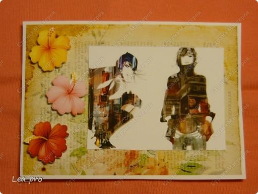 """Открытки, серия """"Девушки"""", 010411. Распечатаны фон, фон, картинки, мелкие детали. Цветная бумага в качестве подложки. Некоторые детали приклеены с эффектом 3D фото 8"""