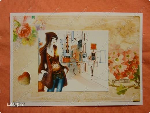 """Открытки, серия """"Девушки"""", 010411. Распечатаны фон, фон, картинки, мелкие детали. Цветная бумага в качестве подложки. Некоторые детали приклеены с эффектом 3D фото 9"""