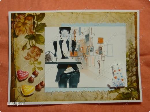 """Открытки, серия """"Девушки"""", 010411. Распечатаны фон, фон, картинки, мелкие детали. Цветная бумага в качестве подложки. Некоторые детали приклеены с эффектом 3D фото 10"""