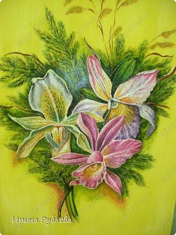 Это орхидеи из пшена, а трава нарисована. Всё рисуется и раскрашивается гуашью. фото 1