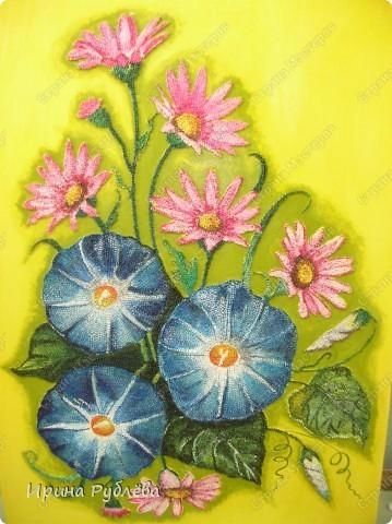 Это орхидеи из пшена, а трава нарисована. Всё рисуется и раскрашивается гуашью. фото 2
