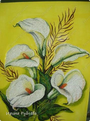Это орхидеи из пшена, а трава нарисована. Всё рисуется и раскрашивается гуашью. фото 3