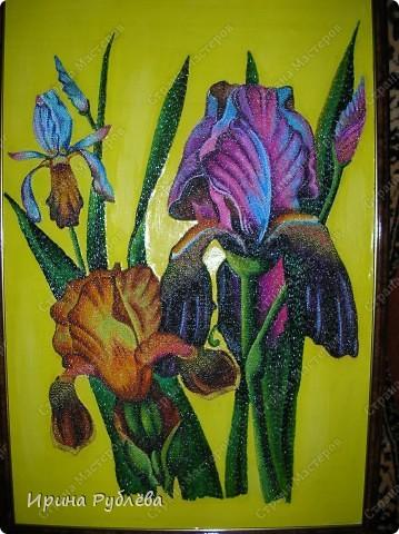 Это орхидеи из пшена, а трава нарисована. Всё рисуется и раскрашивается гуашью. фото 4