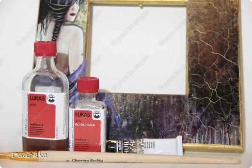 Хочу предложить Вам вариант декора деревянной рамки. Здесь декупаж, состаривание кракелюрным лаком и декор листовой окисленной поталью. фото 5