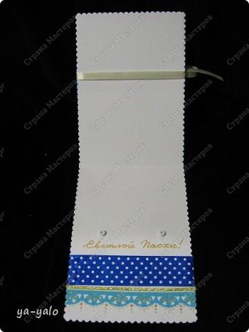 Ещё одна пасхальная открытка - хрупкая веточка вербы, обрамленная разными оттенками синего. Синий я по-прежнему не люблю))) Но уж так сложилось. Нравится глубина этого фольгированного картона фото 6