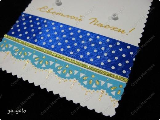 Ещё одна пасхальная открытка - хрупкая веточка вербы, обрамленная разными оттенками синего. Синий я по-прежнему не люблю))) Но уж так сложилось. Нравится глубина этого фольгированного картона фото 11