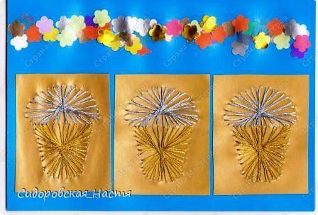 Куличи - изонить, дырокольные цветочки вместо ленты.