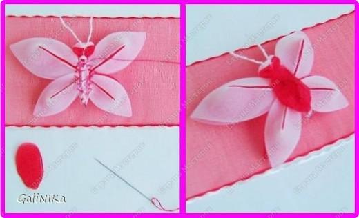 Всем! Доброго здравия!    Сегодня  расскажу о том, как я делаю бабочек, используя ленточки.    Для начала о бабочках из капроновых лент (давно обещанный мастер-класс тем, кому понравилась моя первая бабочка).   фото 8