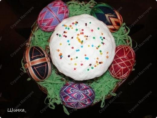 """Вот такую пасхальную композицию сделали на выставку """"Пасхальное яйцо"""". Корзинка сплетена из газетных трубочек. Кулич - это папье-маше. Пысанки - китайские темари в форме яйца. фото 5"""