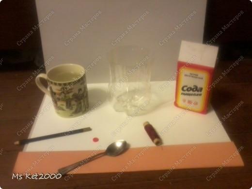 Для кристала нам нужно: Сода,Кипяток,Стакан большой,Катушка,Палка(Карандаш),и Пуговица фото 1