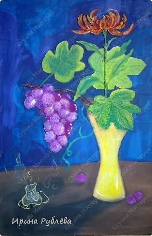Это орхидеи из пшена, а трава нарисована. Всё рисуется и раскрашивается гуашью. фото 37