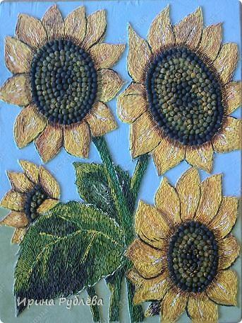 Это орхидеи из пшена, а трава нарисована. Всё рисуется и раскрашивается гуашью. фото 39