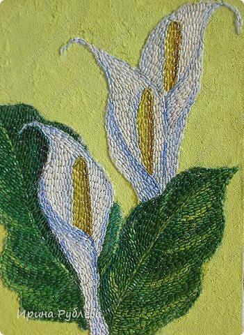 Это орхидеи из пшена, а трава нарисована. Всё рисуется и раскрашивается гуашью. фото 35