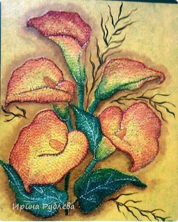Это орхидеи из пшена, а трава нарисована. Всё рисуется и раскрашивается гуашью. фото 33
