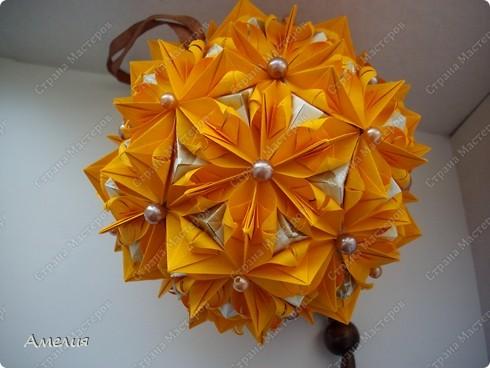 это моя двухсотая кусудама. Модель Stone Flower Всего 90 оранжевых модулей и 60 пирамидок фото 4