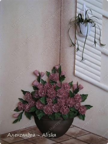 Это мой клевер с курсов, правда почему эти цветы  так назвали не знаю, они больше похожи на хризантемки. Как бы цветы не назвали, мне картина понравилась, смотрится интересно. К сожалению работа пока без рамы,ну ничего что-нибудь подберу позже.  фото 1