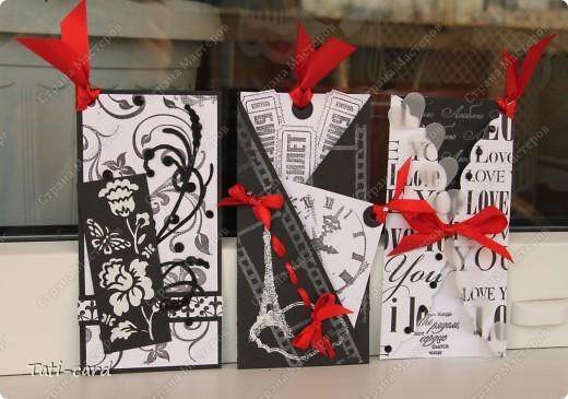 В Питерском Скрапклубе (http://scrapclubspb.blogspot.com/) проводится конкурс авторских тэгов. Сутью задания было создать три авторских тэга на темы:любовь, природа и путешествие,с  использованием как можно большего количества штампов. Очень много сложных и интересных работ, тяжело тягаться с такими талантливыми людьми! И я решила если уж рисковать - то по полной! Создала чёрно-белую серию(ужасно боялась работать в этой гамме) с добавлением красного. Вот что у  меня получилось! :) фото 1