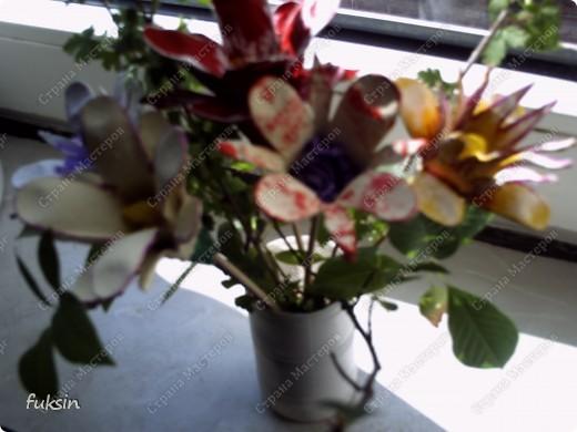Цветы из яичных упаковок 2 фото 6