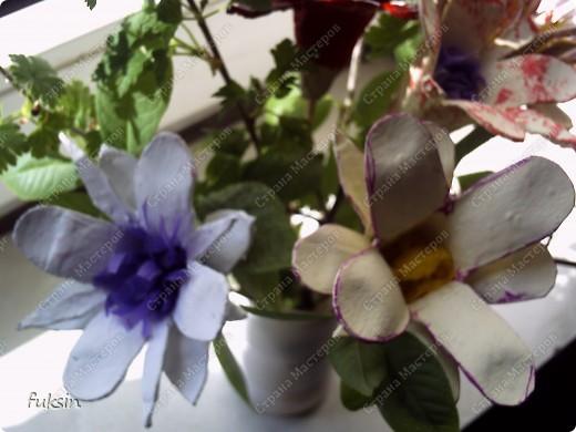 Цветы из яичных упаковок 2 фото 1