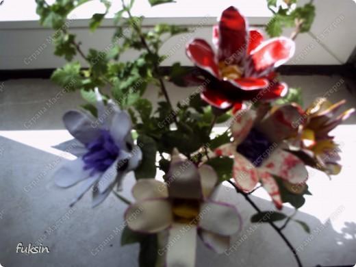 Цветы из яичных упаковок 2 фото 4