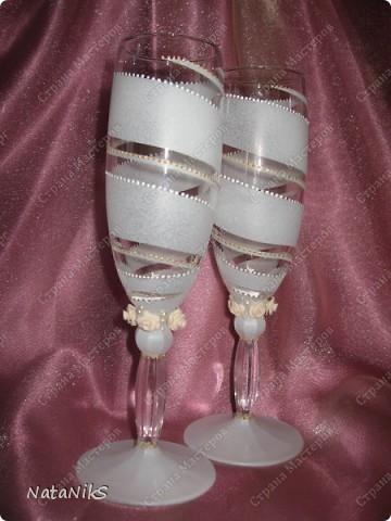 Свадебные бокалы. Мои работы! фото 8