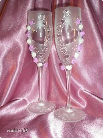 Свадебные бокалы. Мои работы! фото 1