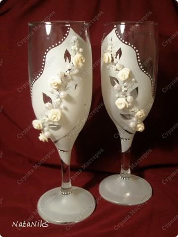 Свадебные бокалы. Мои работы! фото 6