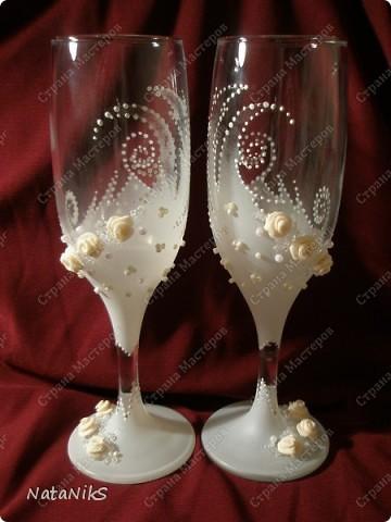 Свадебные бокалы. Мои работы! фото 4