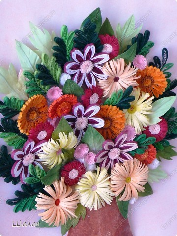 """""""Цветы в кувшине"""". Здесь оригинал http://stranamasterov.ru/node/145061. А это моя очередная работа с курсов Ольги К.  Спасибо ей огромное за уроки.  фото 2"""
