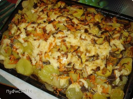 Нам понадобится: 1 кг картошки 0,5 кг мяса (у меня говяжье сердце) 2 средних морковки 1 средняя луковица майонез, растительное масло соль фото 9