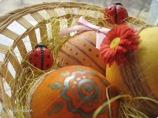 Корзинка уже готовая; цветок из гофрированной бумаги и пуговицы; божьи коровки из соленого теста. фото 4