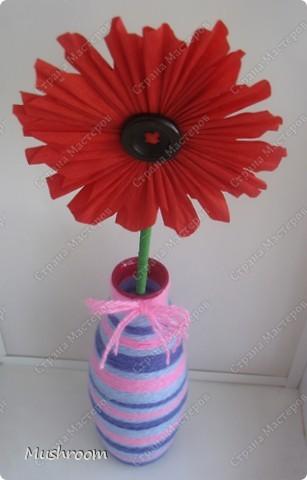 бумажный цветочек в шерстяной вазе ) фото 2