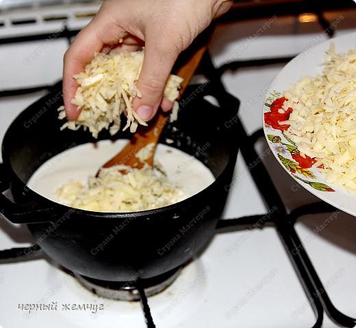 Сырное фондю с крабовыми палочками и сухариками. фото 4