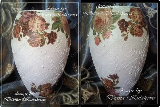 подробный мастер-класс был по бутылке http://stranamasterov.ru/node/96232 ваза выполнена в той же технике. только тут добавила бусинки - самодельные (ниже МК) фото 1
