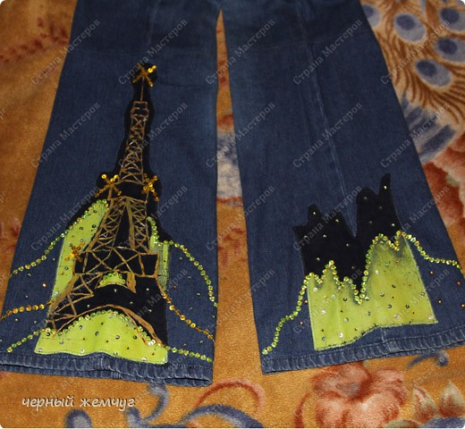Купила обычные джинсы. И решила сделать аппликацию. Украсила пайэтками и  мои обычные джинсы превратились в эксклюзивные.  фото 1